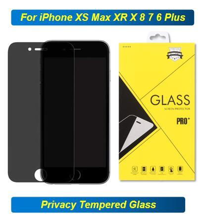 9h 2.5 D Privacy Tempered Glass Screen Protect For iPhone S 2020 11 Pro Max XS XR MAX X 8 7 Plus 6s 5 5S Anti-Spy Film Good Quality