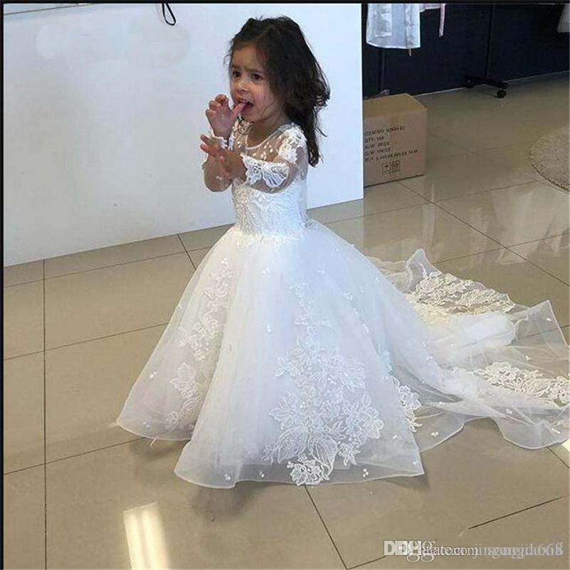 Newest Flower Girl Dress with Long Sleeves Sweep Train White Gils Dress with Appliques First Communion Gowns Birthday Part Gowns