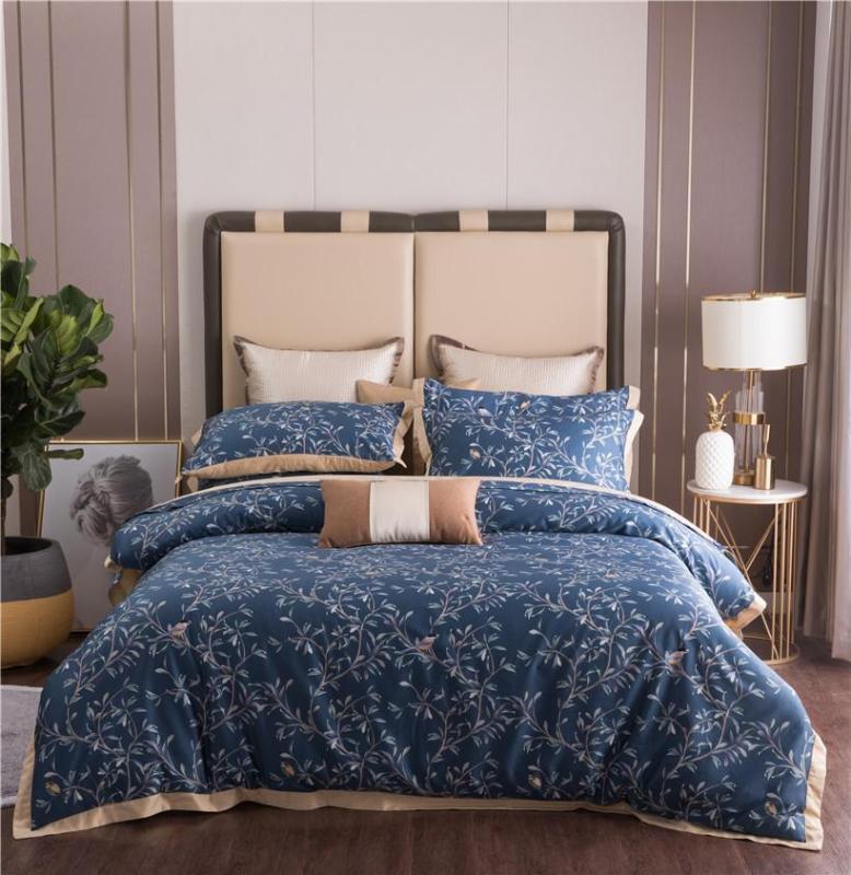 tamanho gasto Vinatge Birds Folhas Navy Blue Floral Duvet Cover Set Rei Rainha egípcia de lençóis de algodão conjunto de folhas de cama travesseiros