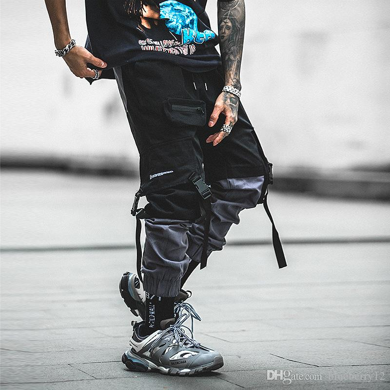 Мужские винтажные брюки Мужские повседневные хлопчатобумажные бегуны твердые шнурок уличная одежда мешковатые шаровары мужчины тренировки тренировочные брюки Азиатский размер S-2XL