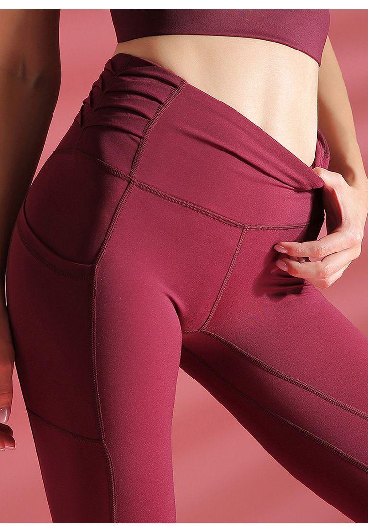 4 nouvelles couleurs Femmes taille haute Yoga Pantalon de remise en forme avec GymLeggings Pocket Push Up Sport Running Wear Workout Pantalon de sport pour les femmes