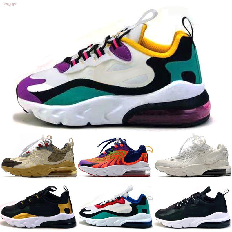 Nike Air Max 270 React 2020 Reaccionar Zapatos Bauhaus TD para niños muchachas del muchacho de los zapatos corrientes Negro Blanco Hyper violeta brillante niños del niño 28-35