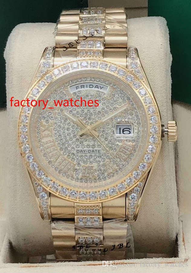 NEW est arrivé chronographes de haute qualité des hommes Montre automatique boîtier 41mm or lunette sertie de diamants et diamants au milieu de bracelet 4 montres cadran couleur