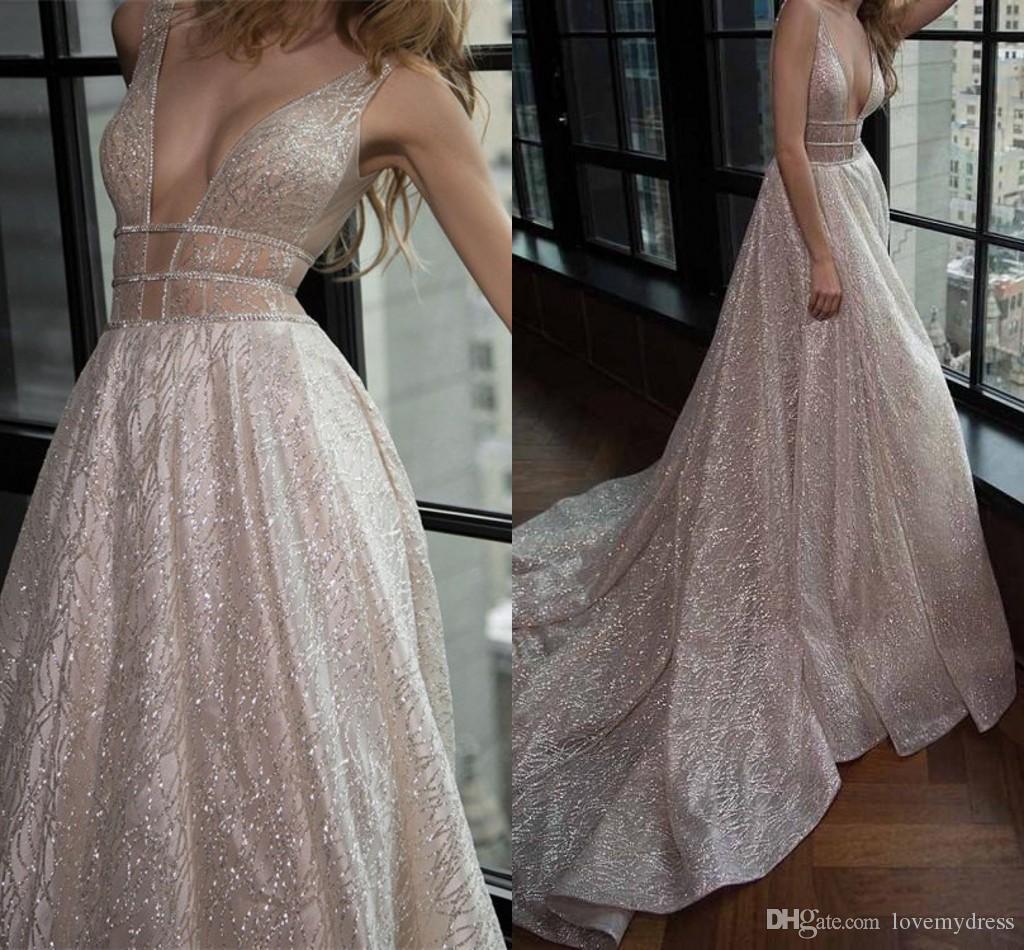 Expensive Sequined Tulle Wedding Dresses 2019 Deep V-neck Open Back Bridal Gowns Wedding Dress Plus Size Party vestido de novia