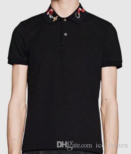 Solido 2019 Fashion Polo Shirts Snake Bee Collar Manica corta da uomo Summer Cotton Casual Polo traspirante Top Tee Black White