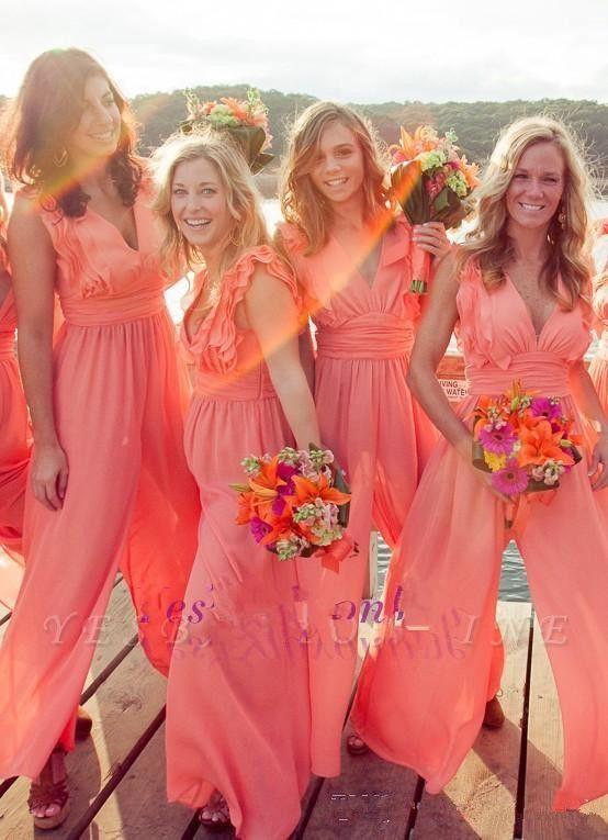 Sleeveless Chiffon 2019 Jumpsuits Bridesmaids Dresses Spring Custom Robe De Honor Of Maid Cheap Bridesmaids Plus Size Maxi Dress