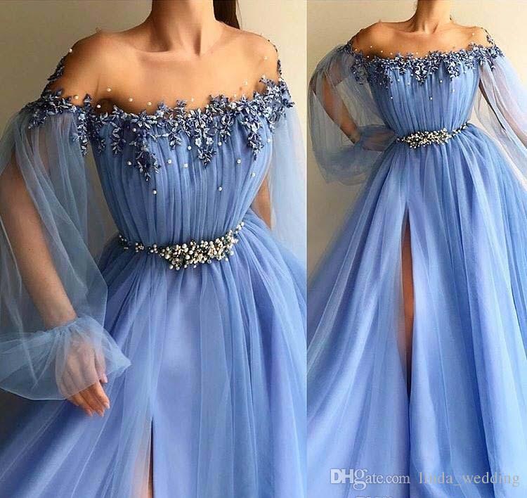 2019 Céu Azul Longo Vestido De Baile Uma Linha Fora Do Ombro Apliques Formais Pageant Férias Desgaste Da Graduação Evening Party Gown Custom Made Plus Size