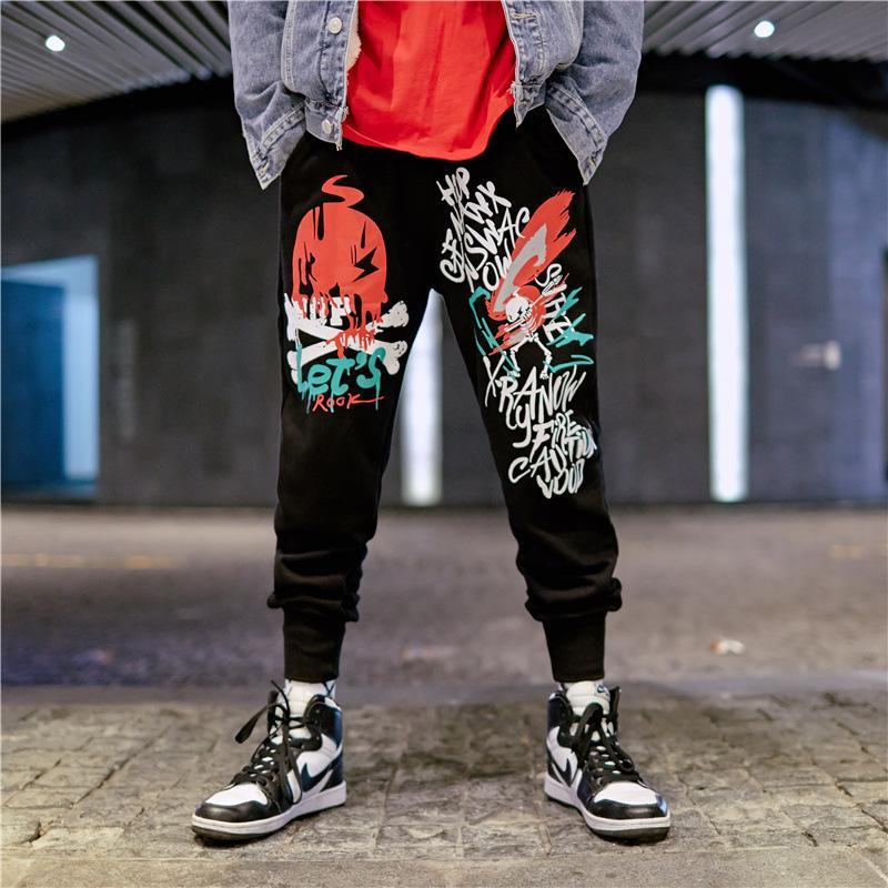 Hip Hop Ankle Length Pants Men Graffiti Letters Print Casual Splice Pants Mens Cargo Pants Joggers Men Streetwear Trousers