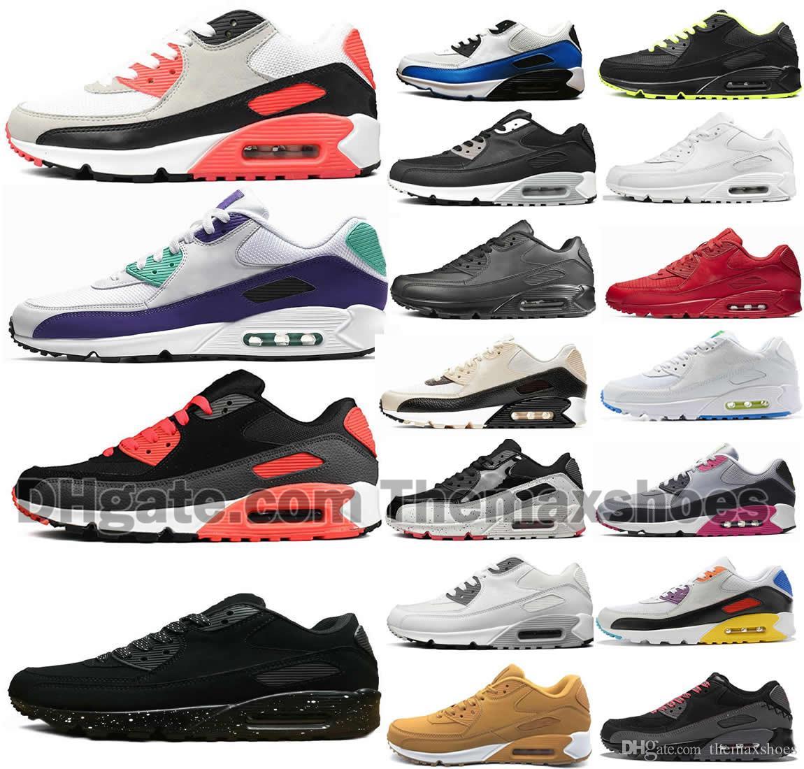 Soluk Fildişi 90 Erkek Koşu Ayakkabıları Gerçek Mixtape Üçlü Siyah Beyaz Erkek Kadın Klasik Sarı Kırmızı Spor Trainer Yastık Yüzey Sneakers