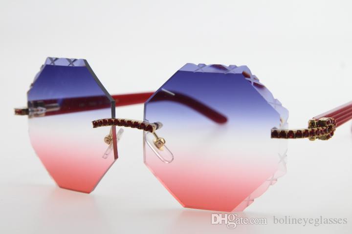 Ücretsiz Kargo Sıcak 4189706 Rimless Kırmızı Elmas Kırmızı Silah Güneş Yeni Stil Mavi Lens bardakları Plank Gözlük Oyma