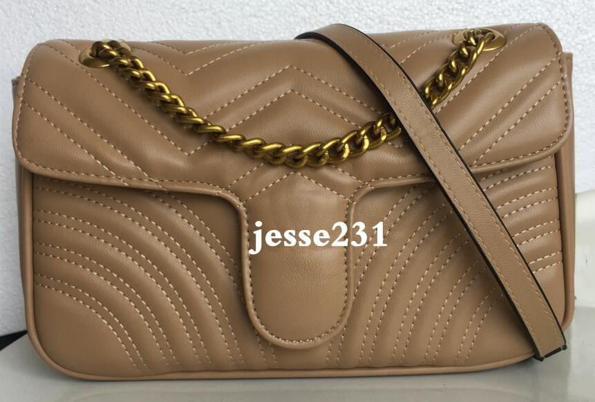 Yüksek Kalite Moda Kadınlar Omuz Çantası Pu Deri altın gümüş Zincir Çantalar Çapraz vücut Saf Renk Kadın Çanta çanta 26cm