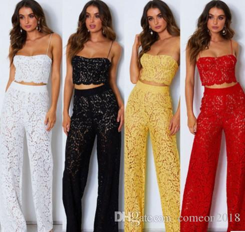 Wholesale designer women clothes spaghetti strap two piece outfits pants sets full length lace hollow out sexy wide leg pant women jumpsuits