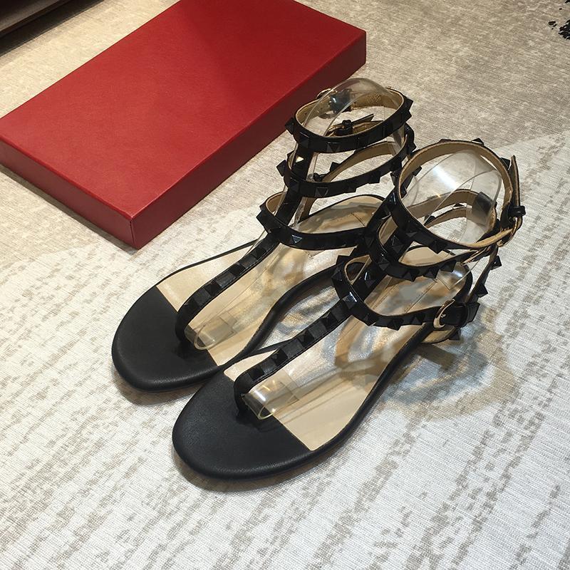 sandalias de diseñador caliente de la venta-Marcas zapatos de la correa remaches sandalias de verano de Wome 36-40 b52