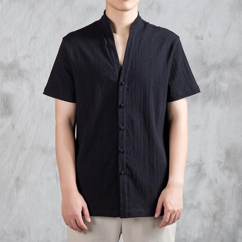 Eté Coton Lin hommes chinois collier de style Stand Casual chemise manches courtes Kongfu Tai Chi Costume Homme Vintage Chemises