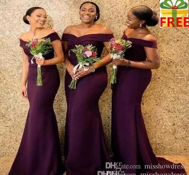 2020 Regency Africain Hors de l'épaule Satin Longues demoiselle d'honneur Robes RUCHED SUPPORT TRAIN DE MARIÈME DE MARIÈME DE MEILLEUR HONE ROBES BC1288