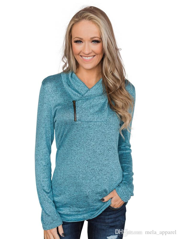 New Turn Down-Kragen-dünner Frauen-Hoodies-Seiten-Reißverschluss Unregelmäßige Langarm-Sweatshirt Beiläufiges weiblicher Pullover Herbst