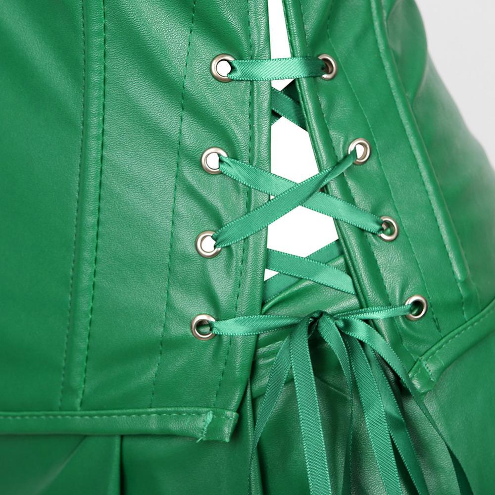 Сексуальная готическая искусственная кожа корсет платье Overbust баскский бюстье мини-юбка Сексуальная передняя молния стимпанк корсеты плюс размер S-6XL
