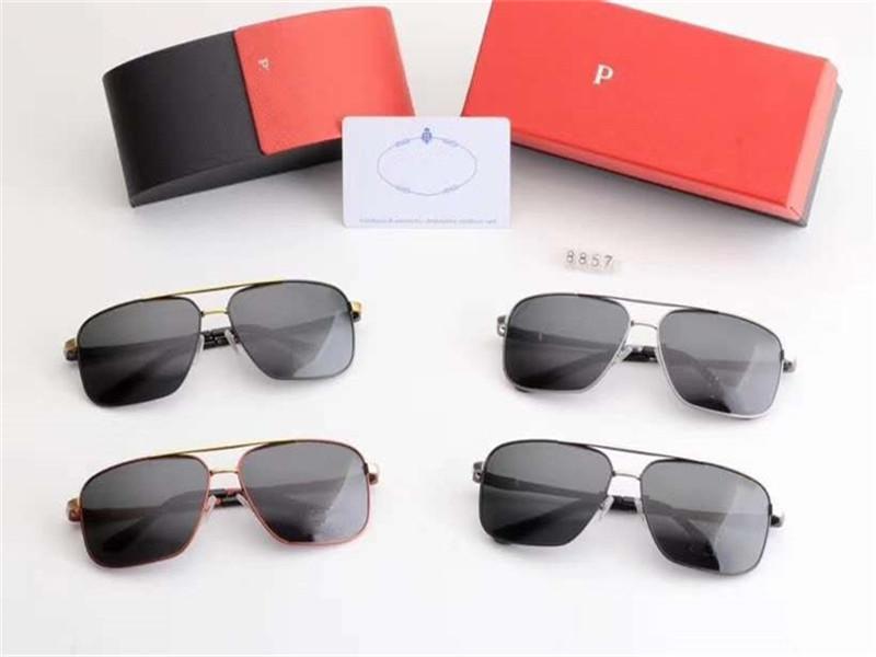 En la marca de alta final MEN 4 colores de estilo clásico Quare vidrios de sol sandbeach alta calidad gafas de sol al aire libre 8857
