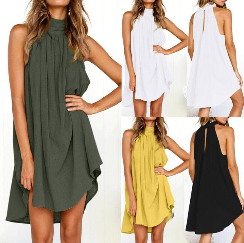 Summer Linen Vest Sundress Draped Elegant Girl Casual Spring Pleated Dress mini Halter Sleeveless Casual Round Neck Party Club Night Wear