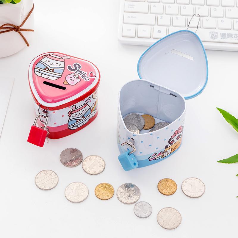 Cartoon animali Salvadanaio latta a forma di cuore Banca Piggy Con Lock Collection moneta per bambini premi 1 92hc E1