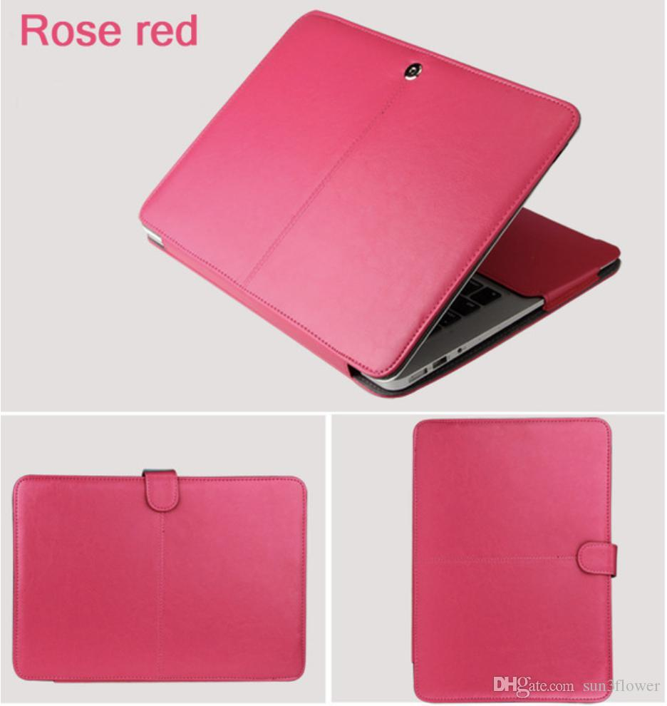 "PU-Ledertasche für Macbook Air 11 Air 13 Pro 13 Pro 15 '' New Retina 12 13 15 Hülle für Apple Macbook 14 ""13.3"" 15.4 ""15.6"" -Rose Red"