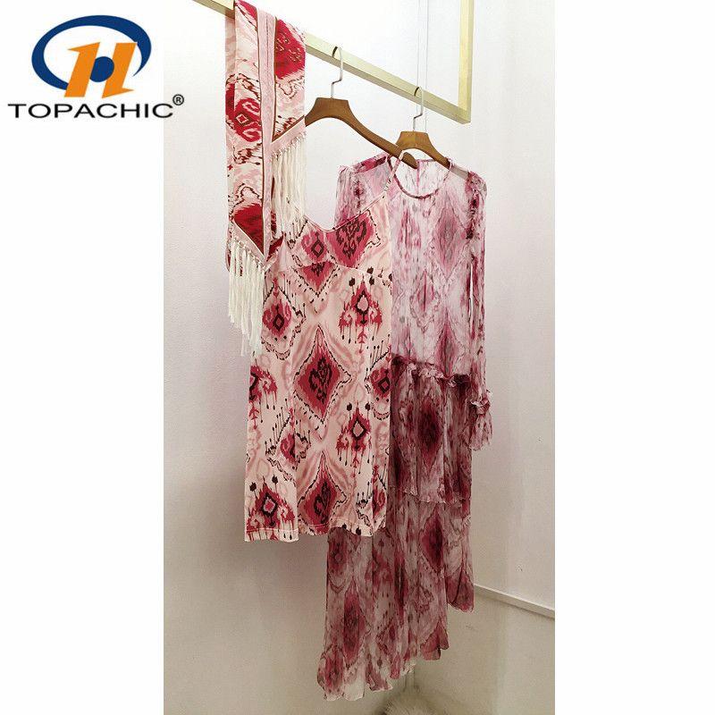6,4 100% Silk 2020 Лето новых женщин платье шею длинным рукавом пояса Bohemian длинное платье