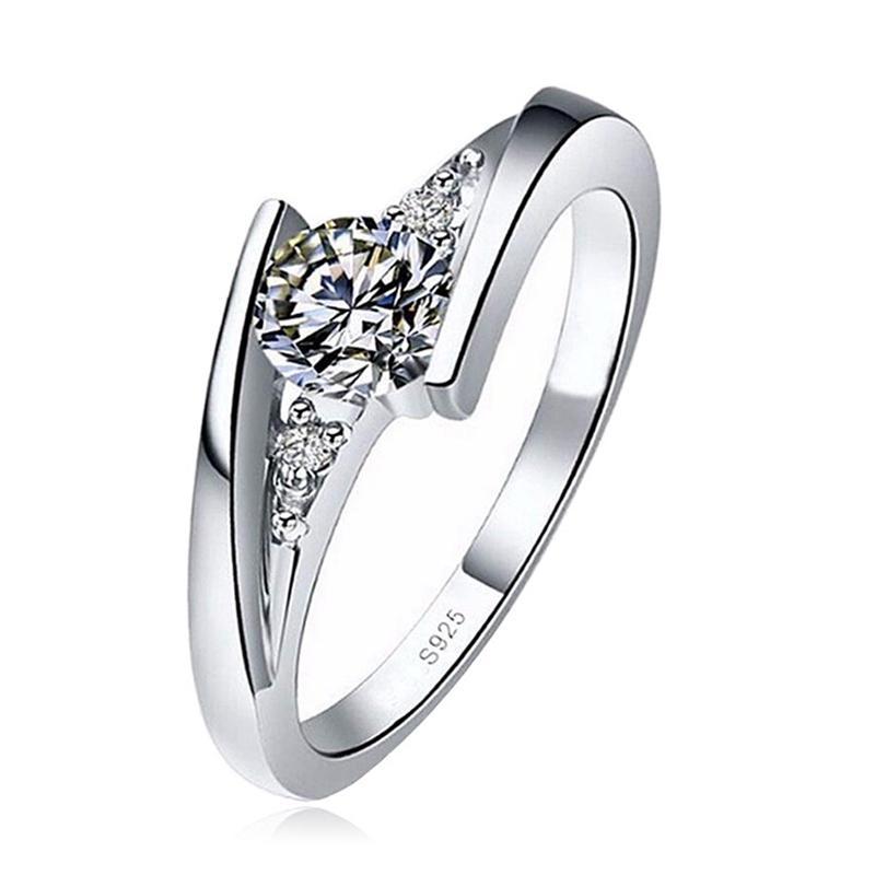 Evli Takı Boyut 10pcs sıcak satış Yeni moda Klasik Gümüş Yuvarlak Kesim zirkon Gelin Alyans Kadınlar Nişan alın 6 7 8 9