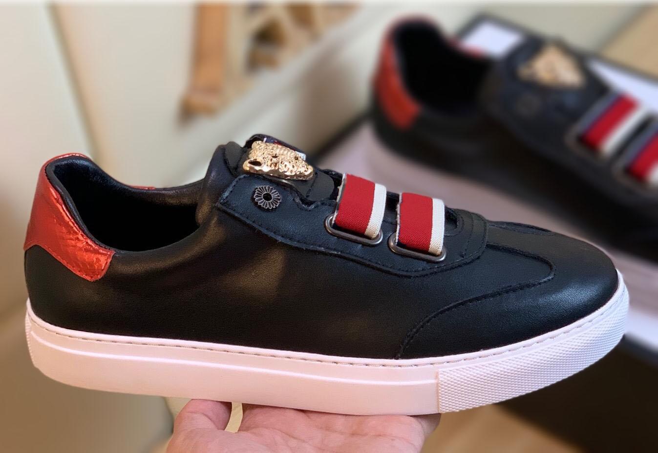2020 de Moda de Nova Mens Womens Designer couro genuíno Top Casual Plano Homens Designer Sneaker Outdoor Leopard cabeça logotipo calçados casuais