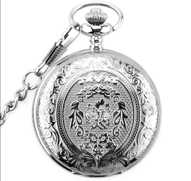 Nuovo arrivo 100pcs / lot dell'annata argento classico intagliato orologio da tasca in bronzo retrò collana orologio all'ingrosso