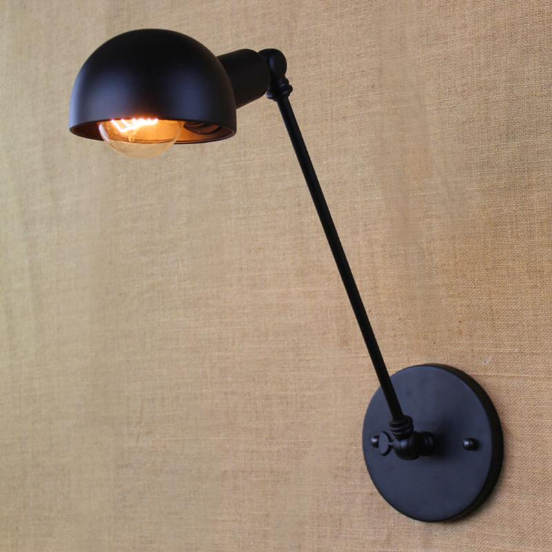 Negro clásico de la lámpara de pared LOFT nórdica del art aplique Arandela ajustable LED Giro del brazo apliques de iluminación E27