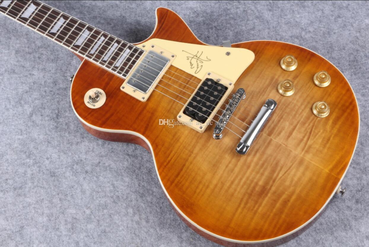 Custom Shop 1959 R9 VOS Castanho Cereja Sunburst Jimmy Page No. 1 da guitarra elétrica Tiger Flame Bege Top, creme Switch Plate, Tulip Tuners
