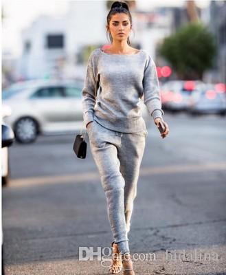 2ST Anzug für Frauen Set T-Shirt Tops + Jogginghose Anzüge Female 2 bessert Satz-Frauen-beiläufige sweatsuits Kleidung