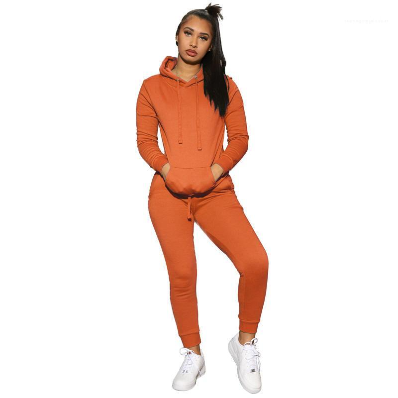 Сплошной цвет Женские дизайнерские костюмы Плюс Размер Gym Спорт Женская одежда Свободные костюмы пуловер с длинным рукавом Спортивные костюмы