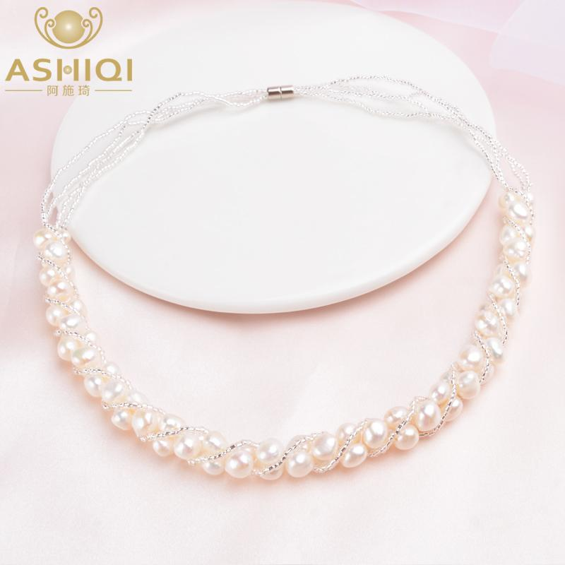 ASHIQI Natural Freshwater pearl Necklace for women Fine handmade Vintage Jewelry wedding gifts