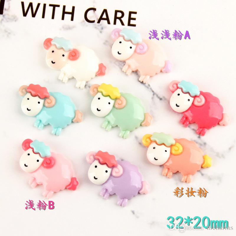 100pcs 32*20mm Kawaii Resin sheep lamb charms Children's Hair Jewelry Handicraft Material Wholesale Mobile diy Accessories