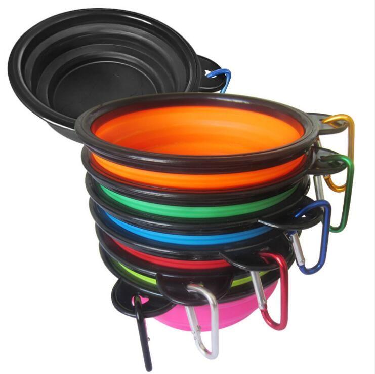 작은 크기 애완 동물 개 실리콘 그릇 후크 실리콘 접는 먹이 개 개 물 접시 휴대용 피더 여행 강아지 접는 그릇