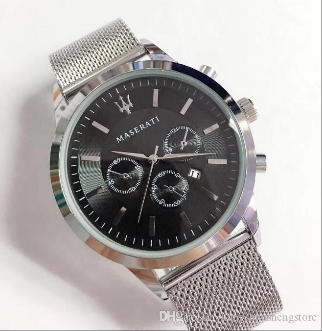 Maserati männer luxus edelstahl uhr männer quarzwerk uhr herren mesh armband armbanduhr herren motorsport armbanduhr montres