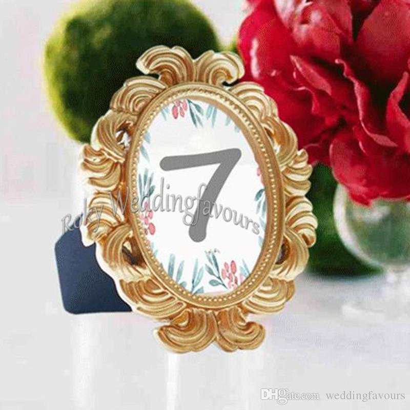 30PCS Gold Baroque Photo Frame Place Card Holder Wedding Favors Bridal Shower Event Reception Table Decors Anniversary Party Giveaways