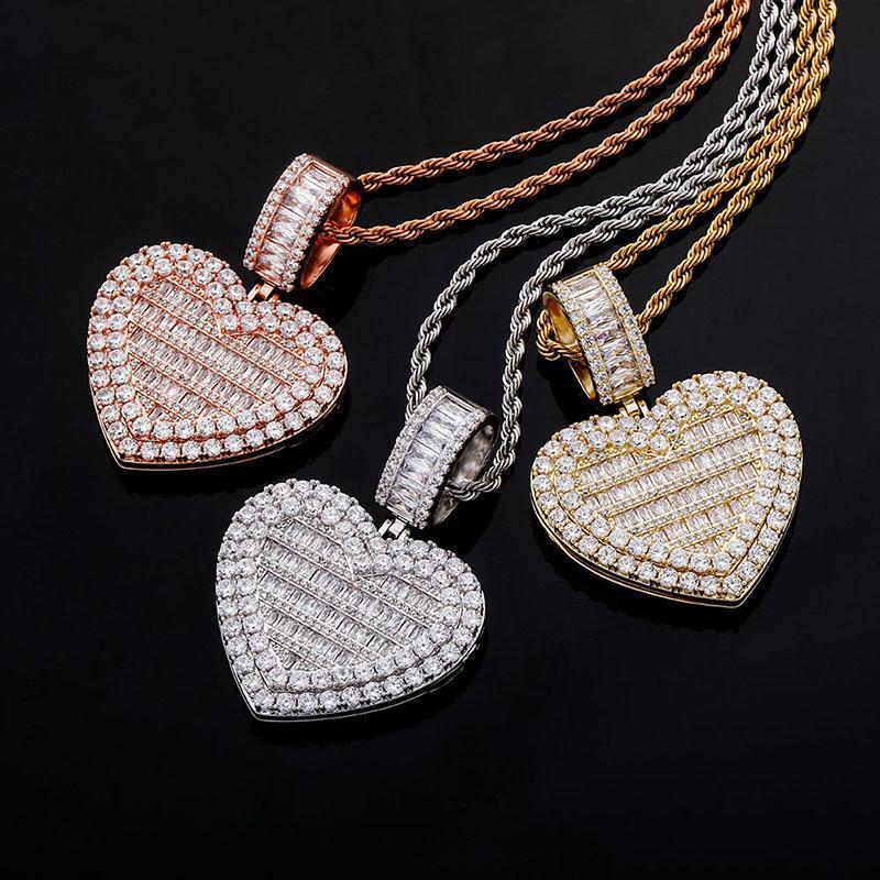 Europe et Amérique Photo faite sur commande Hip Hop Coeur Cadre pendentif collier de diamants Pendentifs Collier Sides