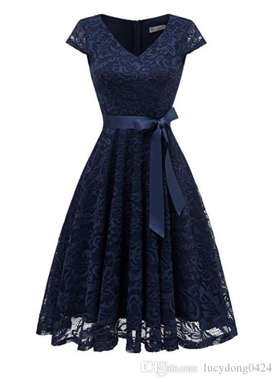 Dark Navy Fashion V-neck Lace Ball Gown Cap Sleeves Bridesmaid Dress Fast Shipping Party Dress Knee-length For Wedding