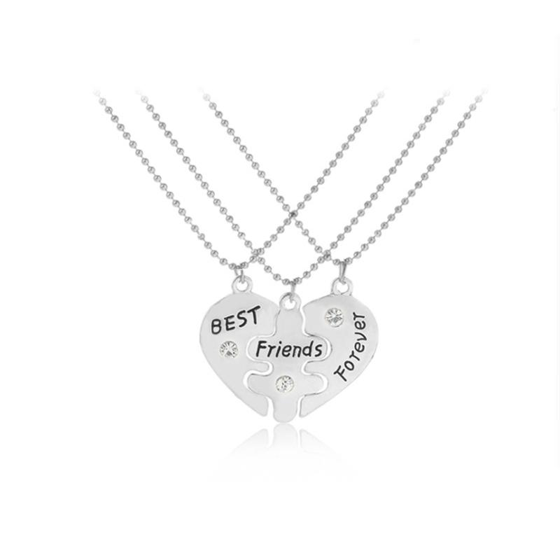 Best Friends BFF Forever Valentine Heart 3 PC Necklace with Shiny crystal on Puzzle Heart Pendants