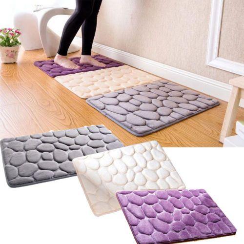 Non-Slip Pebble Flannel Bathroom Bath Rug Foam Pad Mat Shower Floor Carpet