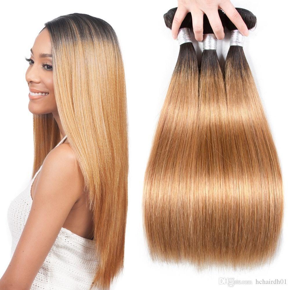 Blonde Brazilian Straight Hair Weave Bundles Ombre 3 4 Bundles Two Tone 1b 27 Hair Weaving 100% Human Hair Extensions Wefts 12-26