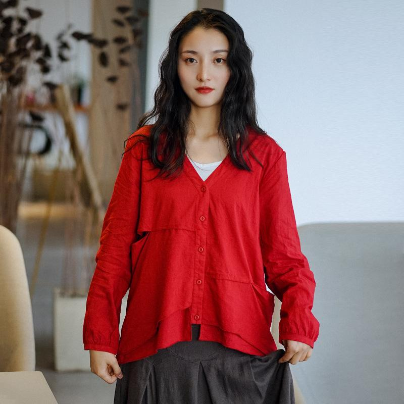 Johnature Kadınlar Düzensiz Gömlekler Patchwork Bluzlar 2020 İlkbahar Yeni V-Yaka Uzun Kollu Düğme Mori Kız Tatlı gömlek ve başında