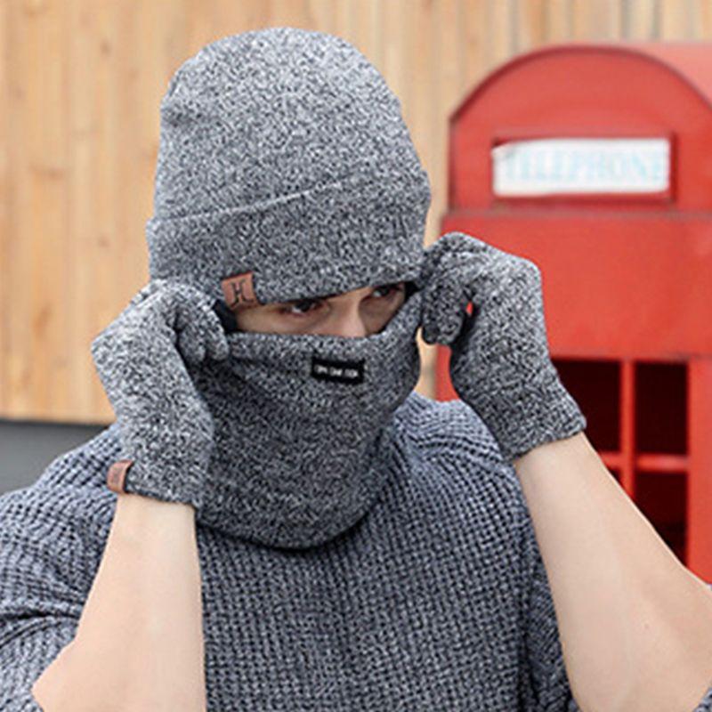 Set 3 pezzi di lana a maglia cappello guanti e sciarpa caldi per la donna 2018 invernale Caps Maschera Berretti Mens Sciarpe dello scaldino del collo Visiera