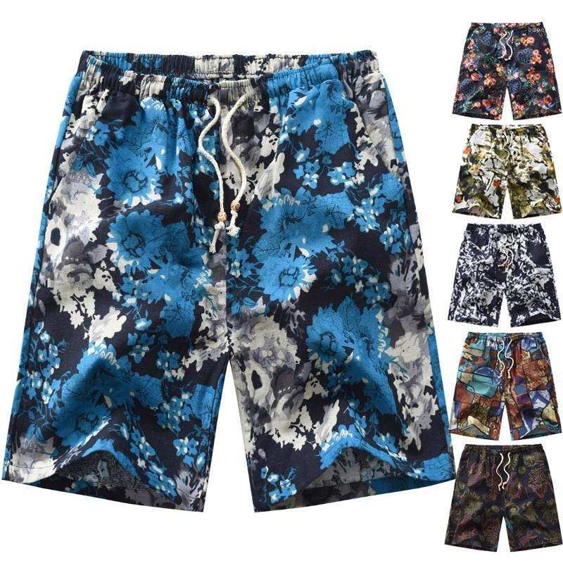 Pantalones Casual Male vacaciones para hombre cortocircuitos de la manera más el tamaño del patrón flor de la playa pantalones cortos de verano flojo