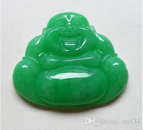 Natural birmânia jade jade Buddha pingente de gelo tipo de colar de jade feminino Yang Homem Verde Rir Buda
