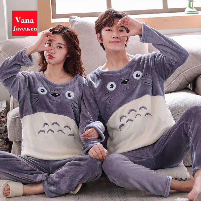 Wholesale-Vana Javeasen Autumn Winter Coral Velvet Couple Pajamas Set O-Neck Plus Size Home Service Suit Casual Women Sleepwear Nightwear