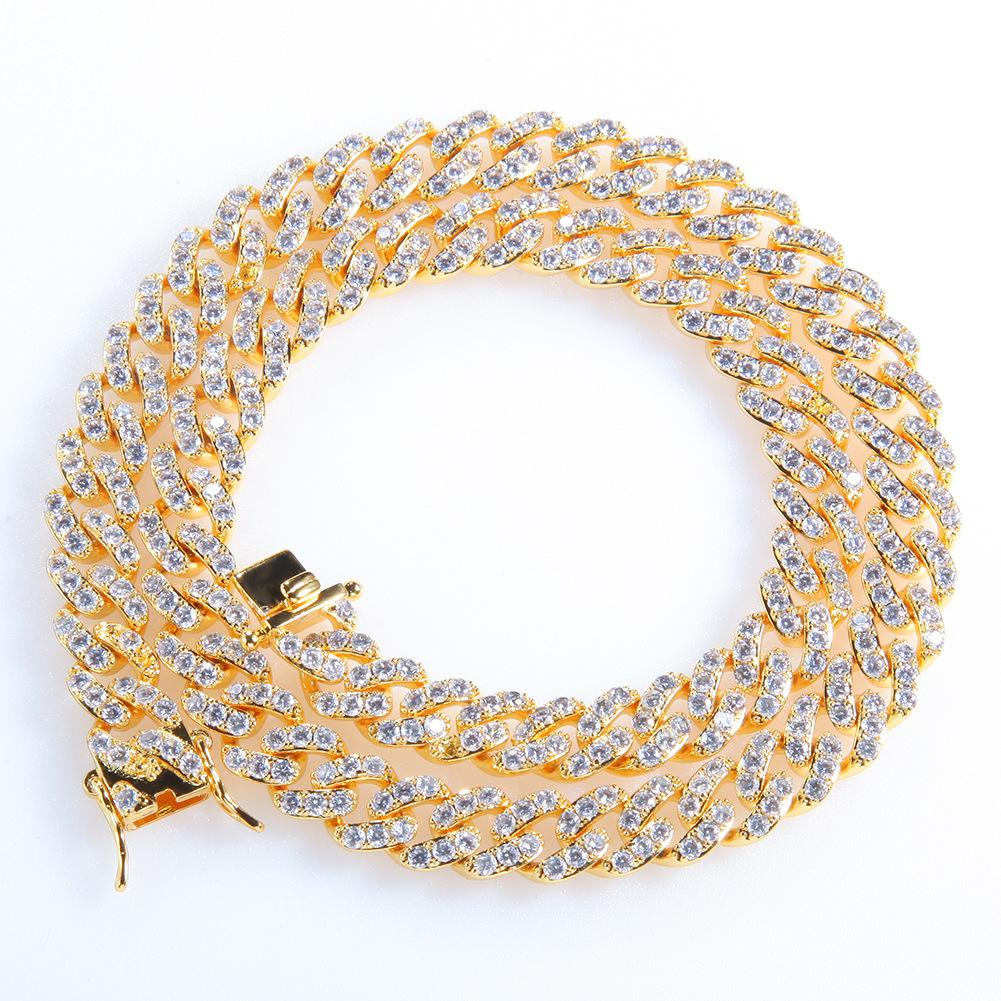 Hip Hop Cuba Chain Necklace Jewelry Mens Diamond Tennis Chain Necklace Bracelet High Quality Shining Zircon Necklaces 7inch-20inch