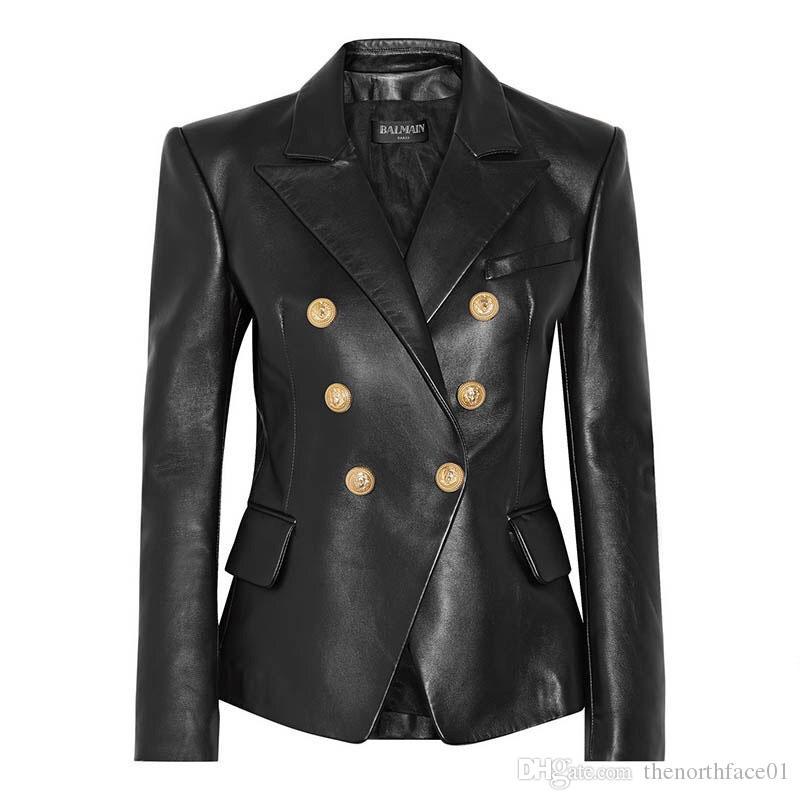 발 메인 여성 자켓 발망 여성 의류 블랙 가죽 자켓 여성 스타일리스트 재킷 고품질 크기 S-XL